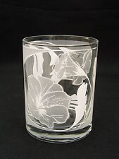 """CULVER GLASS - 4 1/8"""" DOUBLE OLD FASHIONED - WHITE FLORAL DESIGN - SIGNED"""