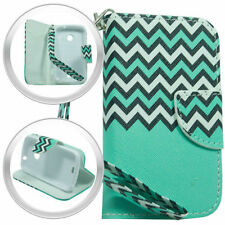 PU Wallet Pouch Chevron Blue Cover Case w/Strap For ZTE Zinger Z667T/Salem Phone