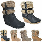 NEW WOMENS LADIES PLATFORM WEDGE HEEL FUR LINED WARM WINTER ANKLE BOOTS SIZE UK