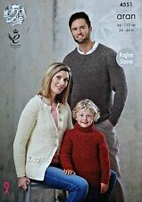 KNITTING PATTERN Ladies/Mens/Boys/Girls Fisherman Rib Jumpers & Jacket Aran 4551