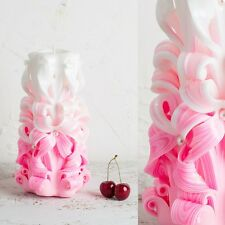 Big White and Pink, Gentle colors, Wedding Decorative carved candle - EveCandles