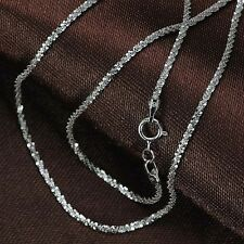 "15.7"" L Au750 Pure 18k White Gold Necklace Women Men Many Star Link Chain 2-2.5g"