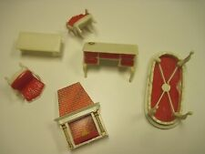 2 Chairs, Sofa Table, Fireplace + Desk Vintage Hard Plastic Dollhouse Furniture
