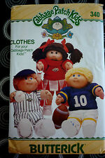 VINTAGE 1984 BUTTERICK 340 SEWING PATTERN CABBAGE PATCH DOLLS  CLOTHES  UNCUT