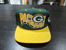 VINTAGE Green Bay Packers Snap Back Hat Cap Green Yellow Football NFL Blockhead
