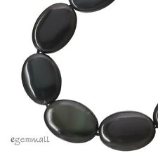 "16"" Black Rainbow Obsidian Flat Oval Beads ap. 13 x18mm #89049"