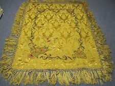 """ANTIQUE GOLD SILK PIANO SCARF with HAND EMBROIDERY AND LONG FRINGE 62"""" X 46"""""""