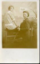 ATTRACTIVE YOUNG COUPLE SUNNY OLD SPOKANE WASHINGTON 1910 RPPC Photo Postcard