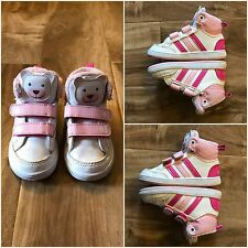 Adidas Size 5 1/2 Toddler Girl Shoes Tennis High Top Pink Polar Bear