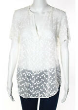 Zoa New York White Silk Polka Dot Sheer Flowy Top Blouse Size Medium New