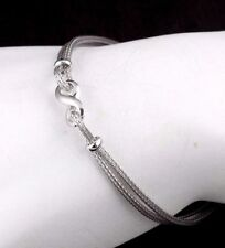 """Womens Solid 925 Sterling Silver Infinity Chain Bracelet Italy  7"""""""