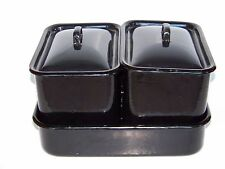 Vintage 3 Piece Enamelware All Black Icebox Refrigerator Pans With Covers