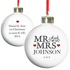 Personalised Mr & Mrs Bauble Xmas Tree Decoration Christmas Wedding P0305F75