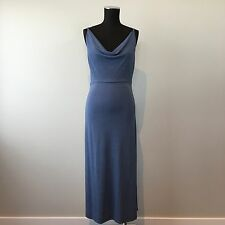 OJAY Slinky Slip Midi/maxi Sleeveless Dress Cowl Neck Size 12 Blue ~ EUC