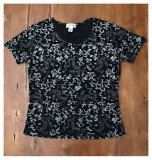Frazier Lawrence Semi Sheer Black Floral Short Sleeved Top Large Rayon Polyester