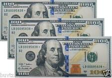 3 Packs 100$ One Hundred Dollar Bill Printed Thin Benjamin BiFold Wallet Fashion
