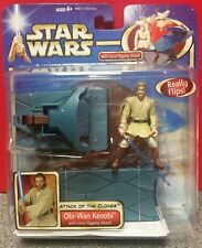 Star Wars Attack of Clones Obi Wan Kenobi w/Force Flipping Action Figure Hasbro
