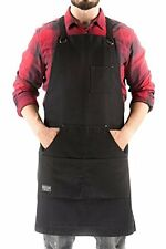 Hudson Durable Goods Heavy Duty Waxed Canvas Work Apron, Black