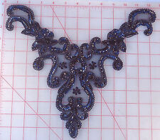 "12 black beaded bodice appliques with sequins collar neckline 13"" x 9"" floral"