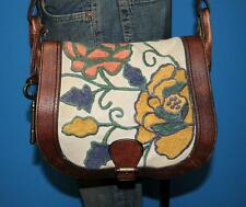 FOSSIL Vintage Re-issue Flap Crossbody Floral Brown Leather Satchel Bag Purse