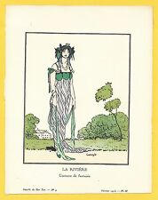 """Gazette du Bon Ton Nº 4-pl.iii-1913-sig. Carlègle """"La Rivière"""" Costume de fantaisie"""