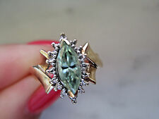 Antique Russian Style engagement 10k Yellow GOLD 1.0Ct Light Green DIAMOND RING