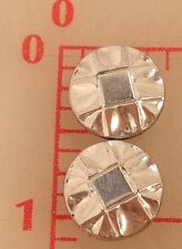 """2 vintage small Czech glass shank buttons silver with square design 13mm 1/2"""""""