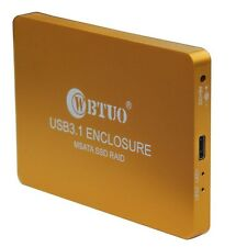 WBTUO USB3.1 Type-C to 2-Ports MSATA SSD RAID HDD Enclosure Golden/SilverQ15742