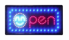 "LED Neon Smiley Open 04 Animated Sign 2 On/Off Switches Chain 10""x19"" bright"