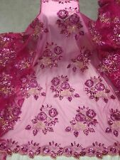 "FUCHSIA MESH W/GOLD PINK SEQUINS EMBROIDERY LACE FABRIC 50"" WiIDE 1 YARD"