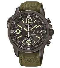 New Seiko SSC295 Solar Chronograph Compass Black Dial Mens Nylon Strap Watch