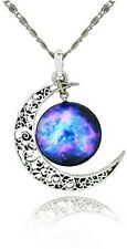 Galaxy and Crescent Cosmic Moon Pendant Necklace | Purple Glass| Best Jewelry