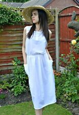 WOMEN'S/LADIES VINTAGE 1980s CLOTHES, WHITE COTTON SUMMER DRESS, CASUAL, M