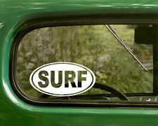 2 SURF STICKERs Oval Surfing Decal For Car Laptop Truck Jeep Bumper Window Rv