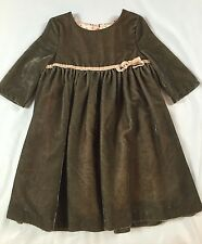 MINI BODEN 3-4 YEARS VELVET PARTY DRESS SPECIAL OCCASSION MILK CHOCOLATE