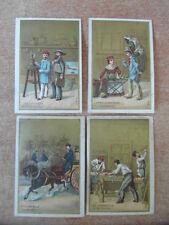 4 x CHROMO BON-POINT SCOLAIRE IMAGE Les Vieux Métiers de Paris v.1880 Serie 212