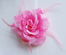 Lace Rose w Floral Lace & Feathers - Hair Clip / Pin / Soft Elegant Detail