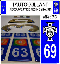 1 sticker plaque immatriculation AUTO TUNING 3D RESINE  FPF PORTUGAL DEPA 69