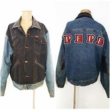 Vintage 80s PEPE Jacket Size Large Jean Leather Denim Mens Trucker Biker Worn