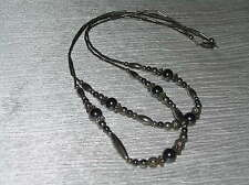 Vintage Unmarked Silver Barrel & Round With Hematite Bead Doublestrand Necklace