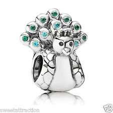 New  Authentic Pandora Charm 791227MCZ Peacock Bead Box Incl