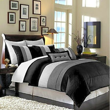 Luxury Striped Bedding with Comforter Black Grey and White King Size 8 Piece Set