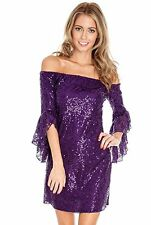 New-Purple Sequin Mini Dress-Frilled Sleeve-Off Shoulder-Party/Club/Cocktails-12