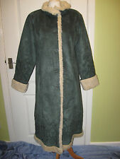 LADIES 1970's CENTIGRADE EMBROIDERED DARK GREEN FAUX SUEDE COAT SIZE M 12-14