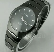 New Black Alloy Steel Analog Mens Quartz Watch Classic Dress Watch