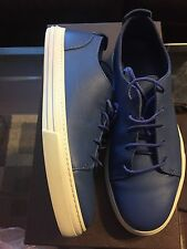 New Authentic Gucci men blue leather sneakers Shoes Logo Sold Out 8 G 9 $540