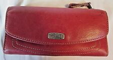 FOSSIL Red Leather  Tri Fold Organizer Wallet ++ FREE BONUS