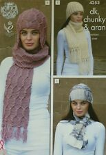 KNITTING PATTERN Ladies Ladies Scarves and Hats in Chunky, Aran DK KingCole 4353