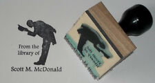 Custom Gentleman Tipping Hat Ex Libris bookplate rubber stamp Amazing Arts