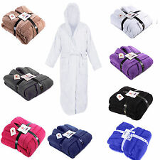 Mens Ladies 100% Egyptian Cotton Terry Toweling Hooded Bath Robe Dressing Gown